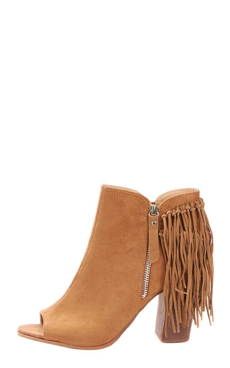 Cameron Camel Suede Fringe Heeled Boots  1