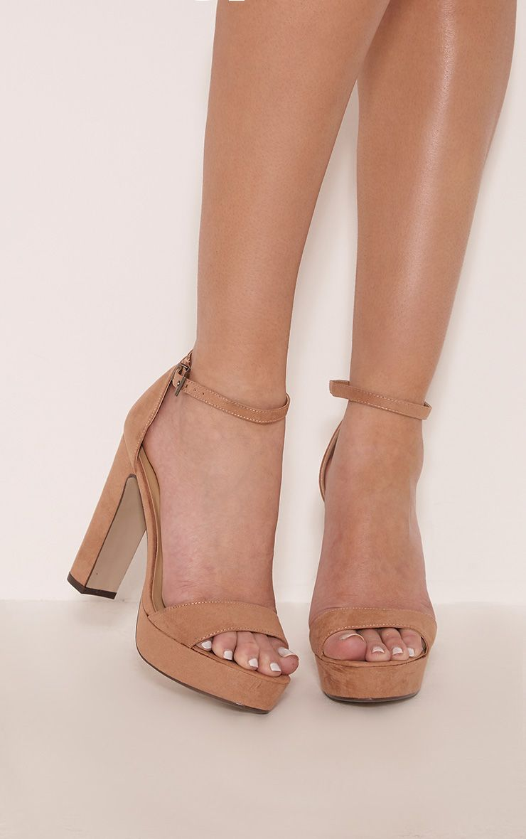 Taya Mocha Faux Suede Platform Sandals 1