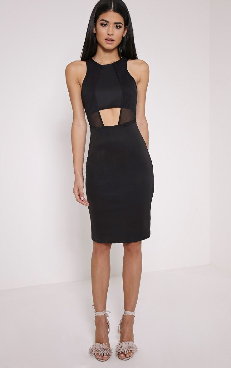 Talli Black Mesh Insert Midi Dress 1