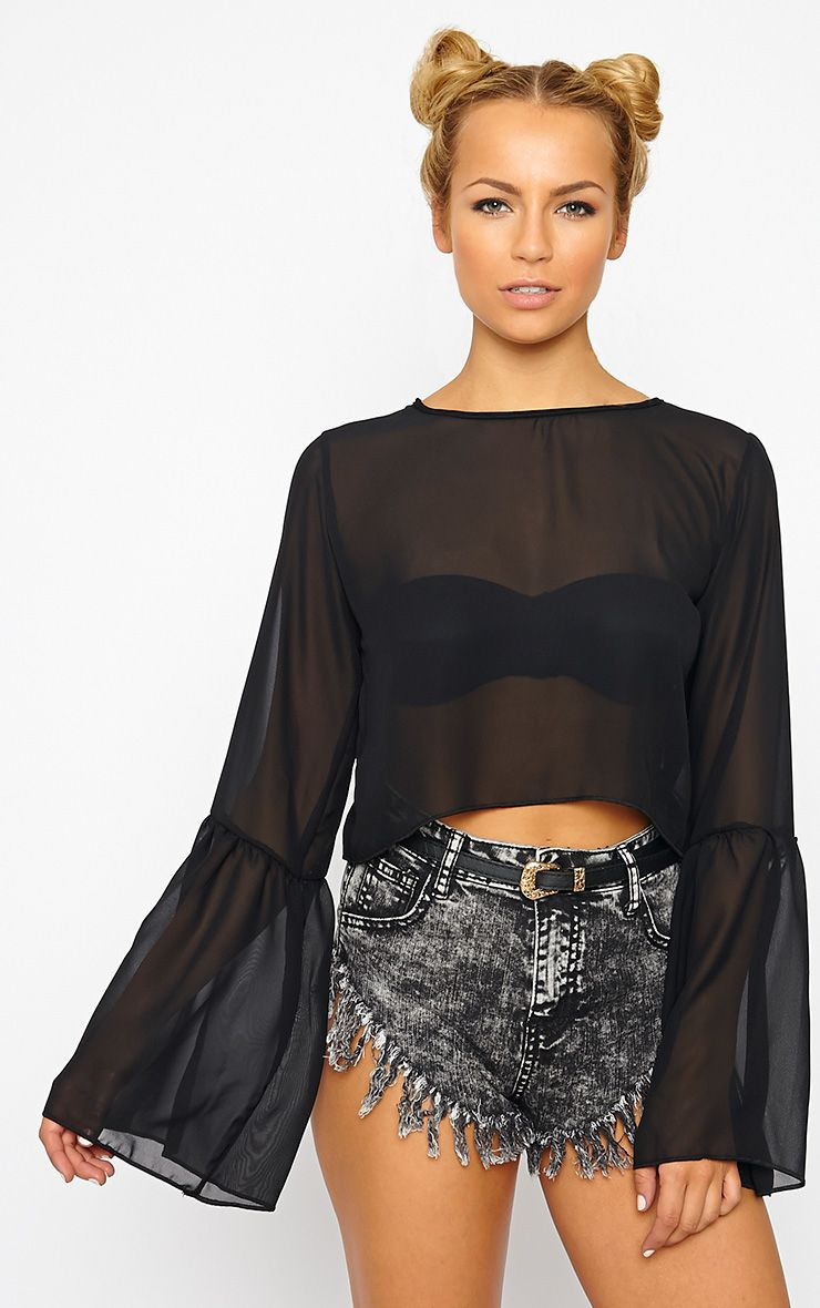 Evelin Black Chiffon Drop Sleeve Top 1