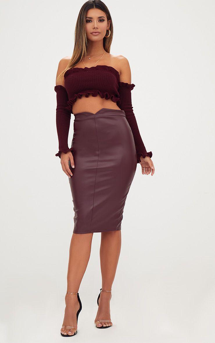 Maroon Faux Leather Panel Midi Skirt