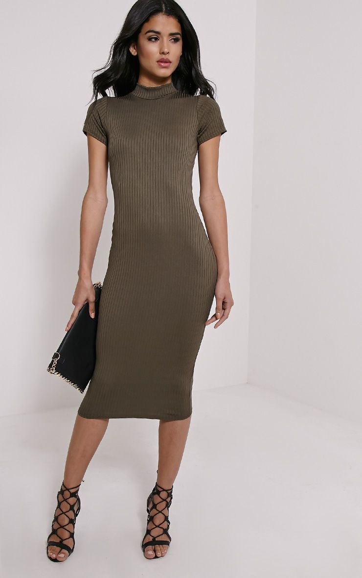 Ebanie Khaki High Neck Ribed Midi Dress 1