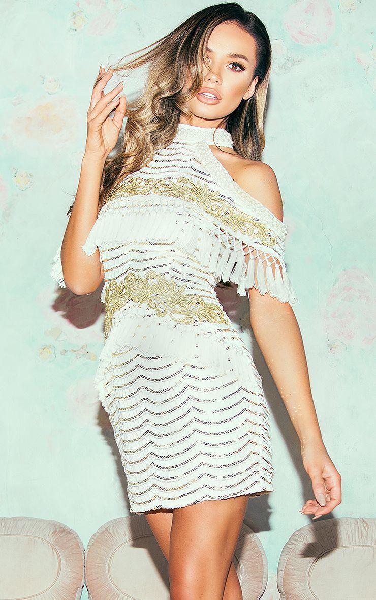 Mylia White Premium Cold Shouder Lace Tassel Bodycon Dress
