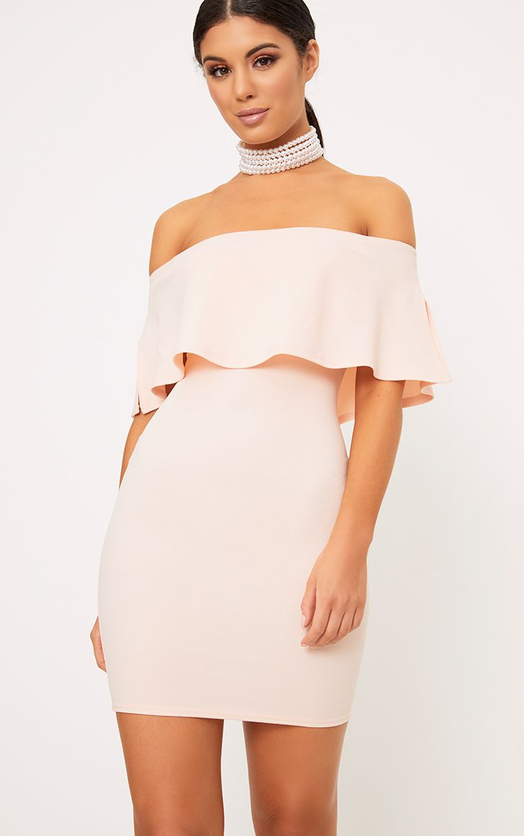 Nude Bardot Frill Bodycon Dress