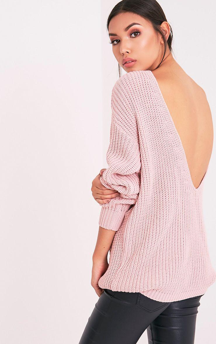 Flossie pull à dos en V tricoté style pêcheur rose pâle 1