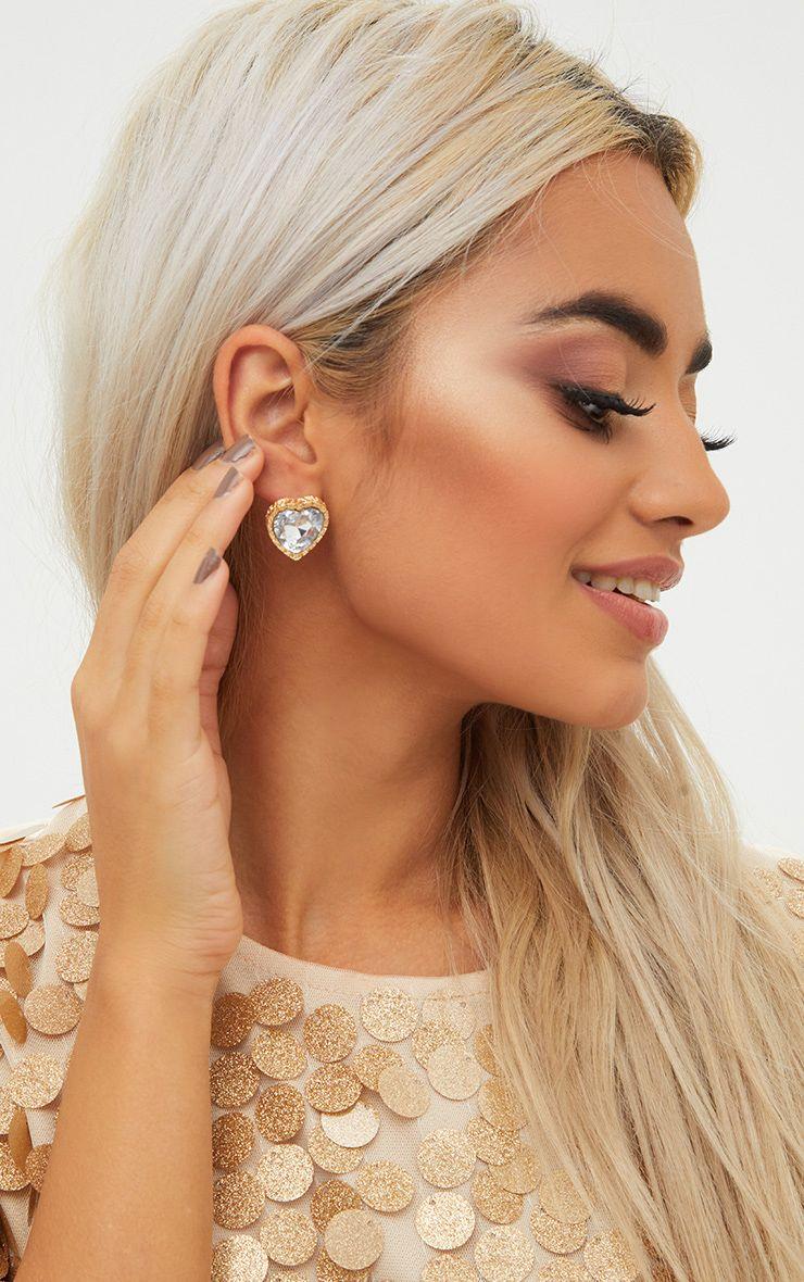 Gold Jewel Heart Stud Earrings 1