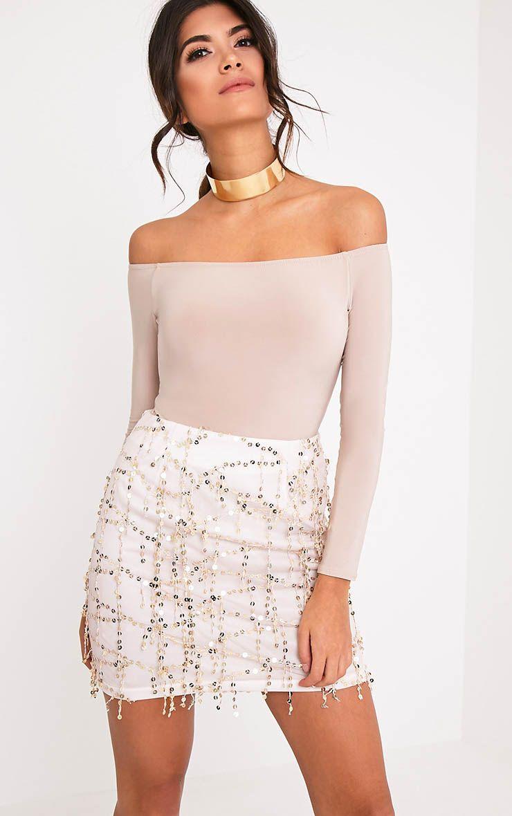 Kelley Gold Sequin Detail Mini Skirt 1
