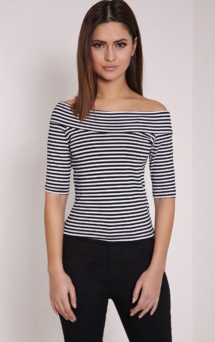 Rhiannon Stripe Bardot Crop Top 1
