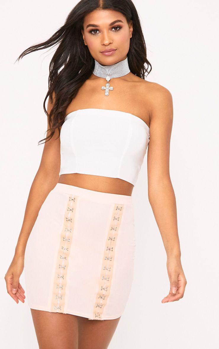 Aphra Nude Hook & Eye Jersey Mini Skirt