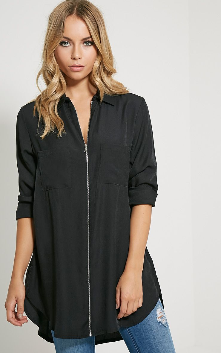 Veena Black Zip Detail Shirt 1