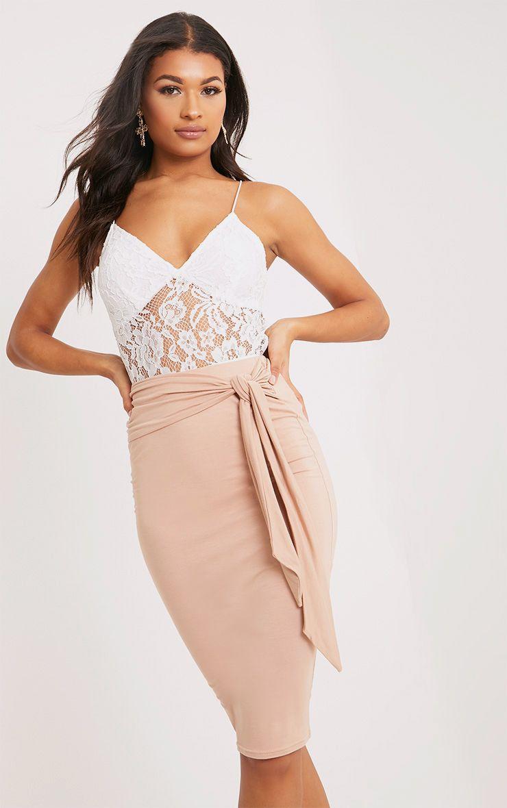 Jaina Nude Tie Front Midi Skirt