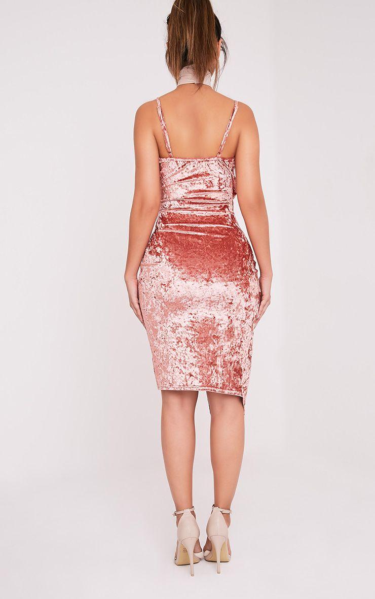 Prina robe midi cache-cœur rose à bretelles en velours écrasé 2