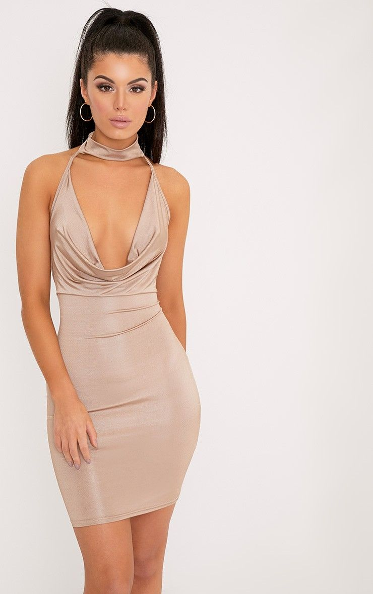 Nude Cowl Neck Cross Back Choker Bodycon Dress