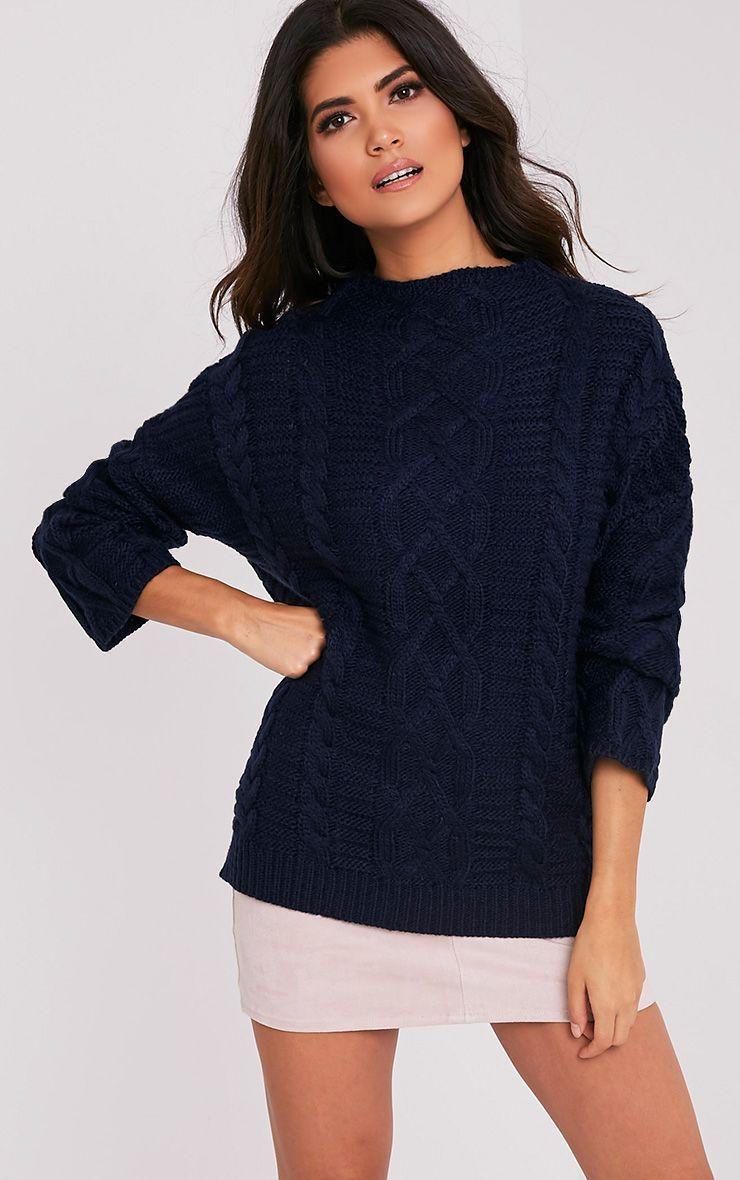 Giannae pull en tricot torsadé surdimensionné bleu marine 2