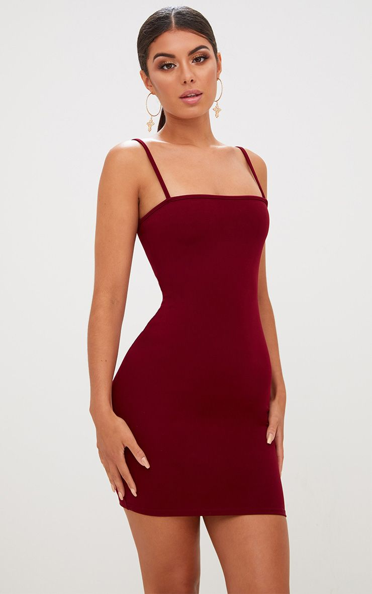Burgundy Straight Neck Bodycon Dress