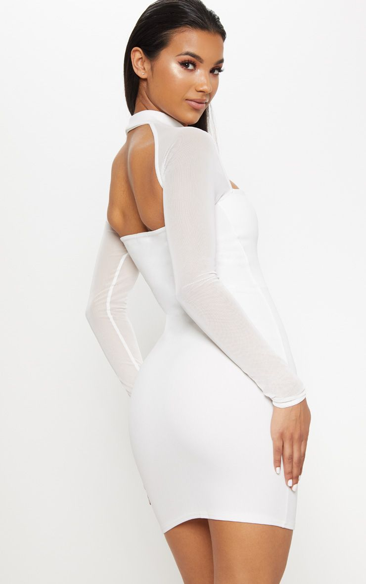 White Choker Neck Mesh Sleeve V Plunge Bodycon Dress Pretty Little Thing tEamOK