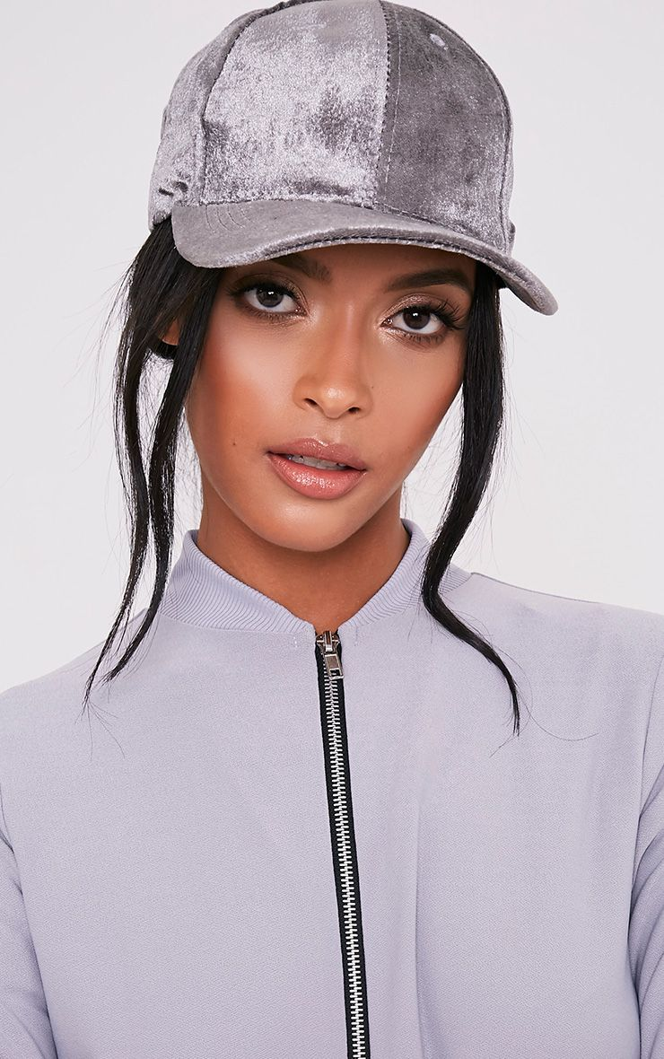Venessa Light Grey Velvet Baseball Cap