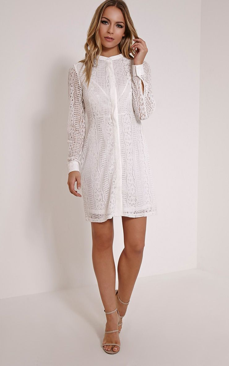Maisi White Long Sleeve Lace Shirt Dress 1