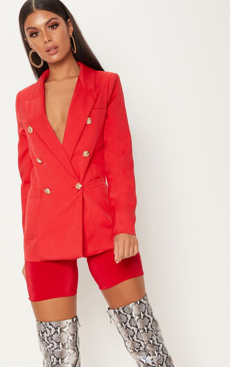 Pari Red Double Breasted Military Blazer