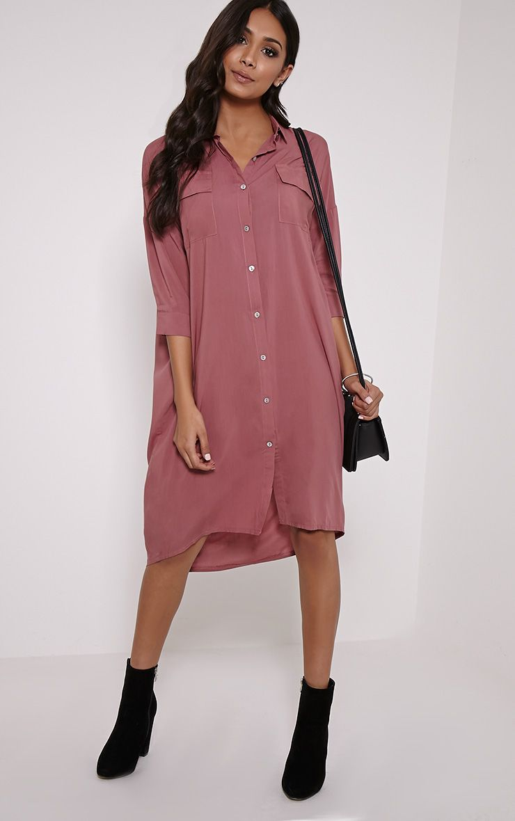 Perrin Rose Longline Shirt Dress