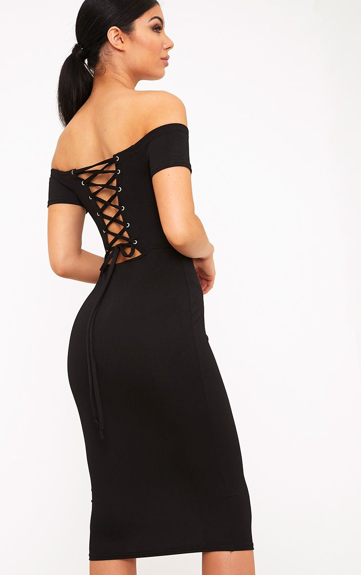 Aggie Black Lace Up Back Bardot Midi Dress