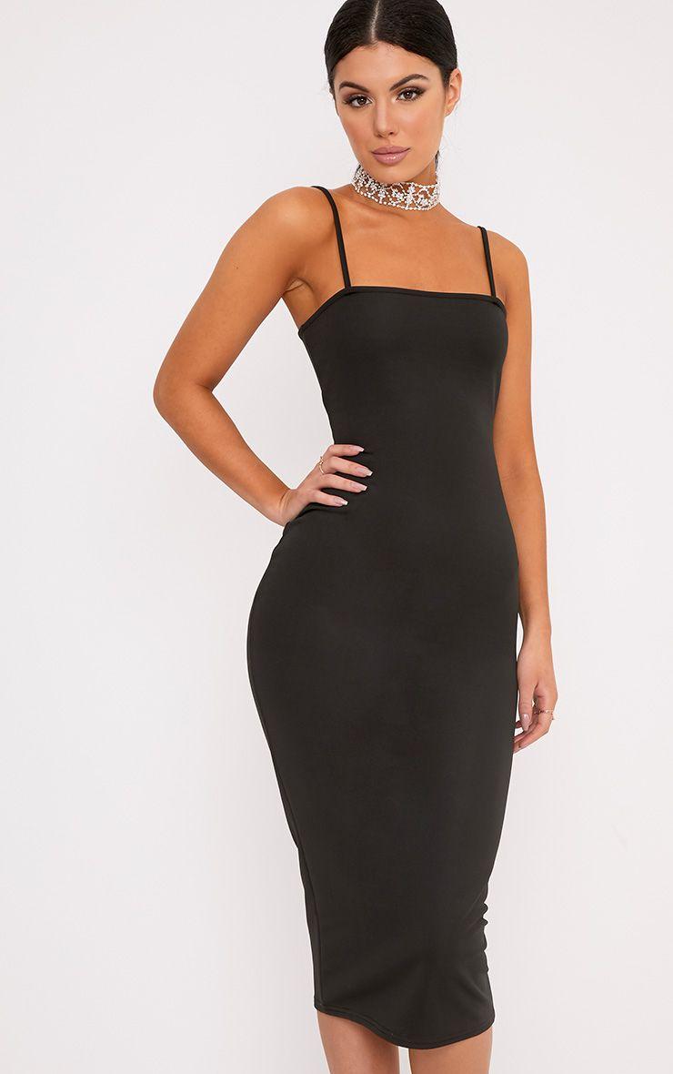 Jamila Black Straight Neck Midi Dress