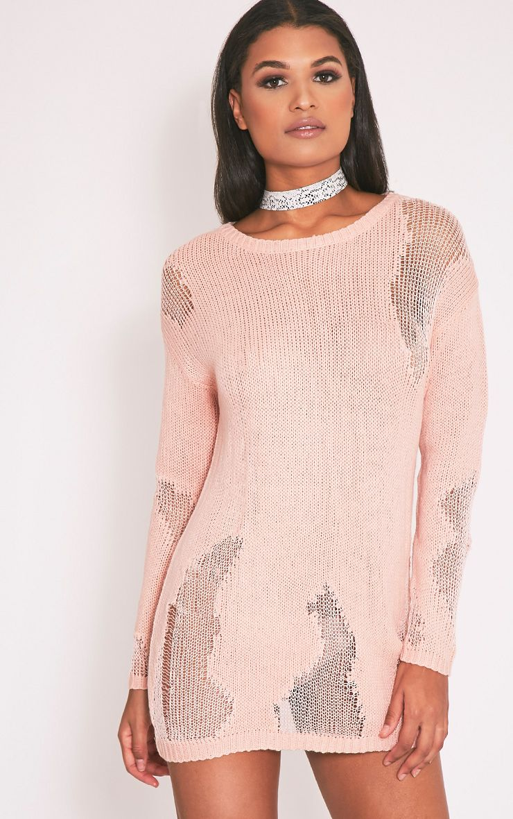 Romonae Nude Frayed Rip Knitted Jumper