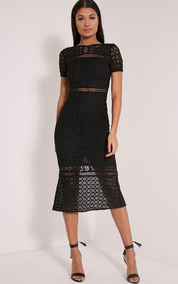 Midira Black Crochet Lace Midi Dress 1
