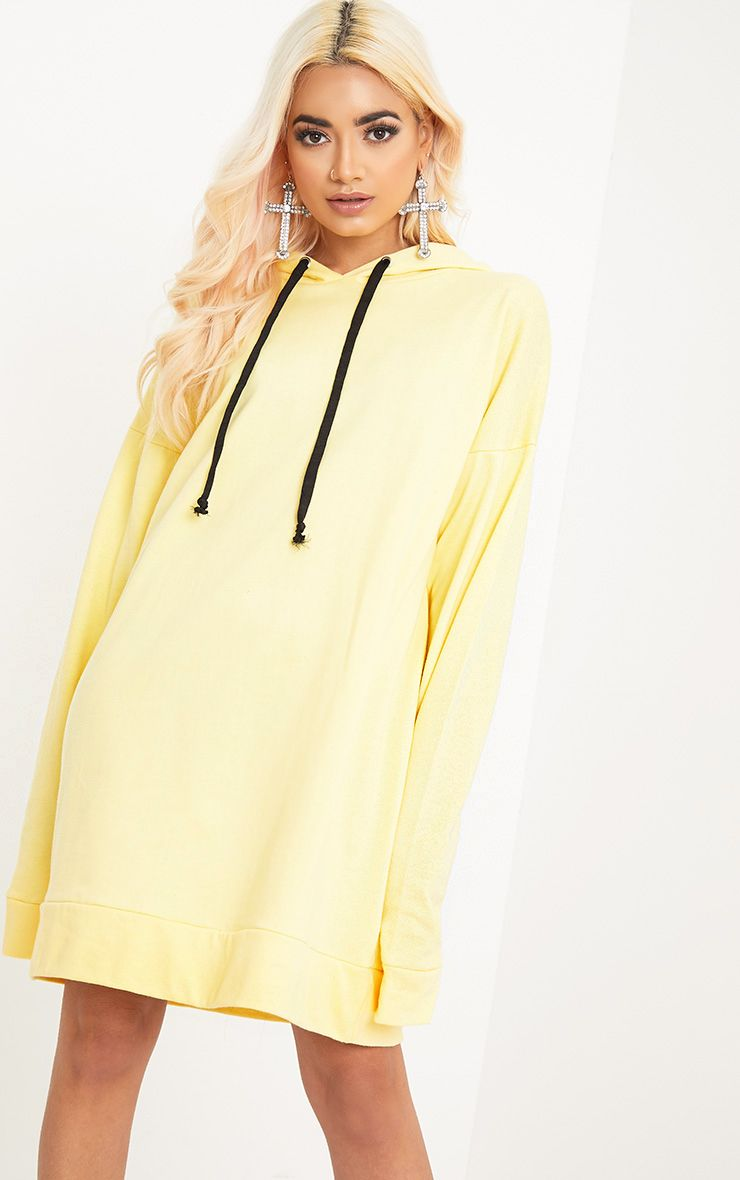 Anuliar Yellow Hooded Jumper Dress with Contrast Ties