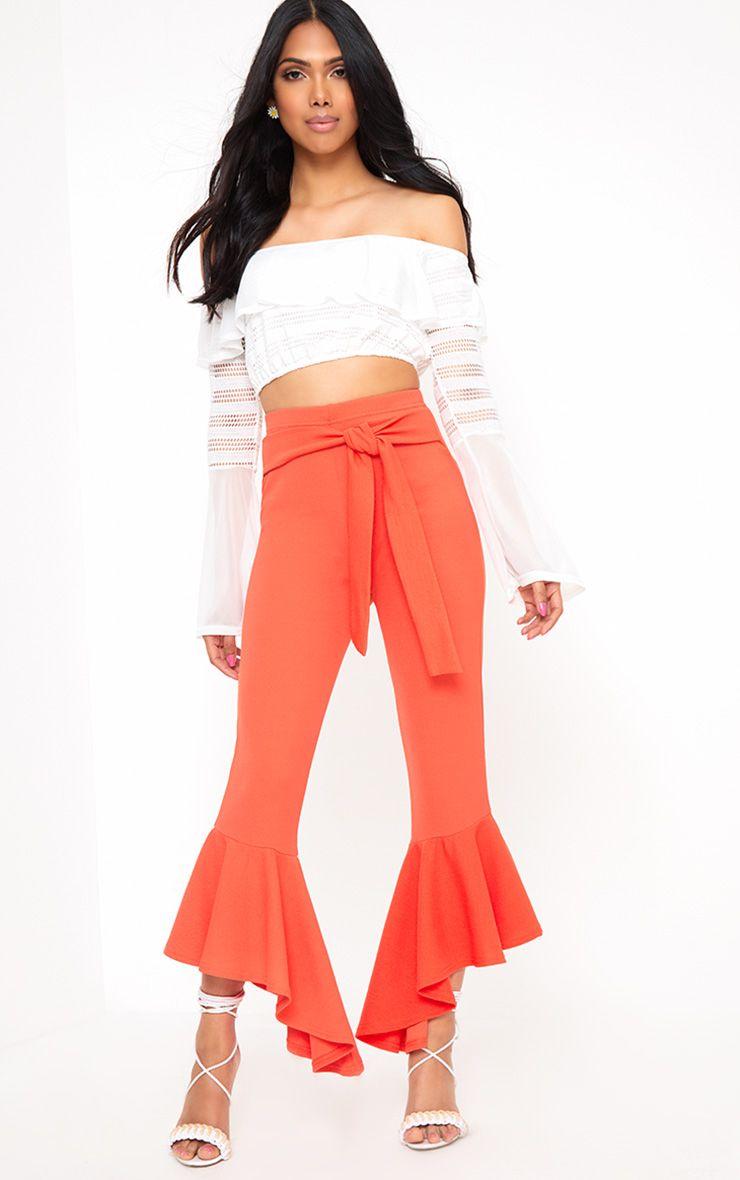 Orange High Low Hem Tie Waist Trousers