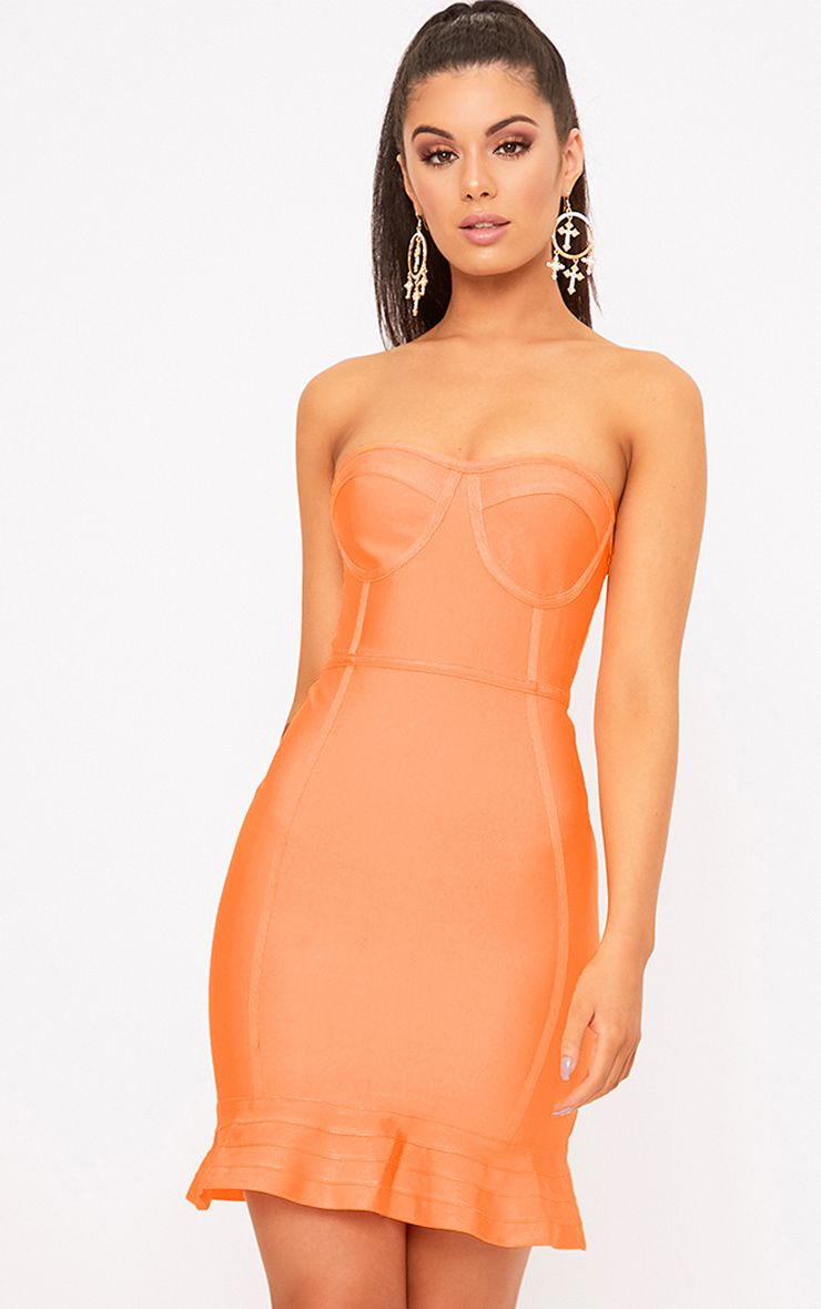 Presli Neon Orange Bandage Frill Hem Bodycon Dress