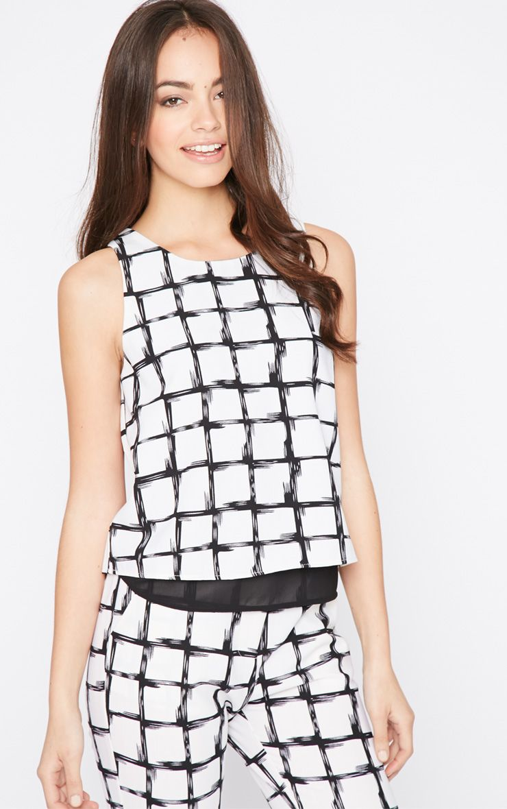 Catori White Checked Vest 1