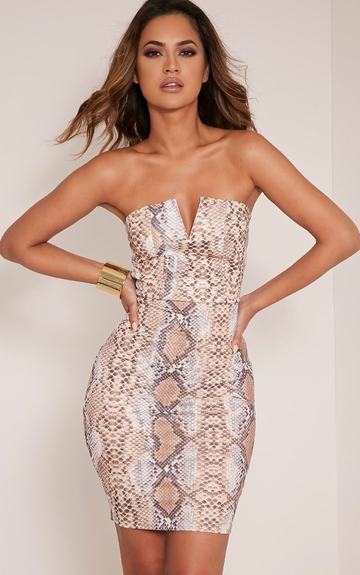 Michelle Taupe Snake Print Bandeau Dress