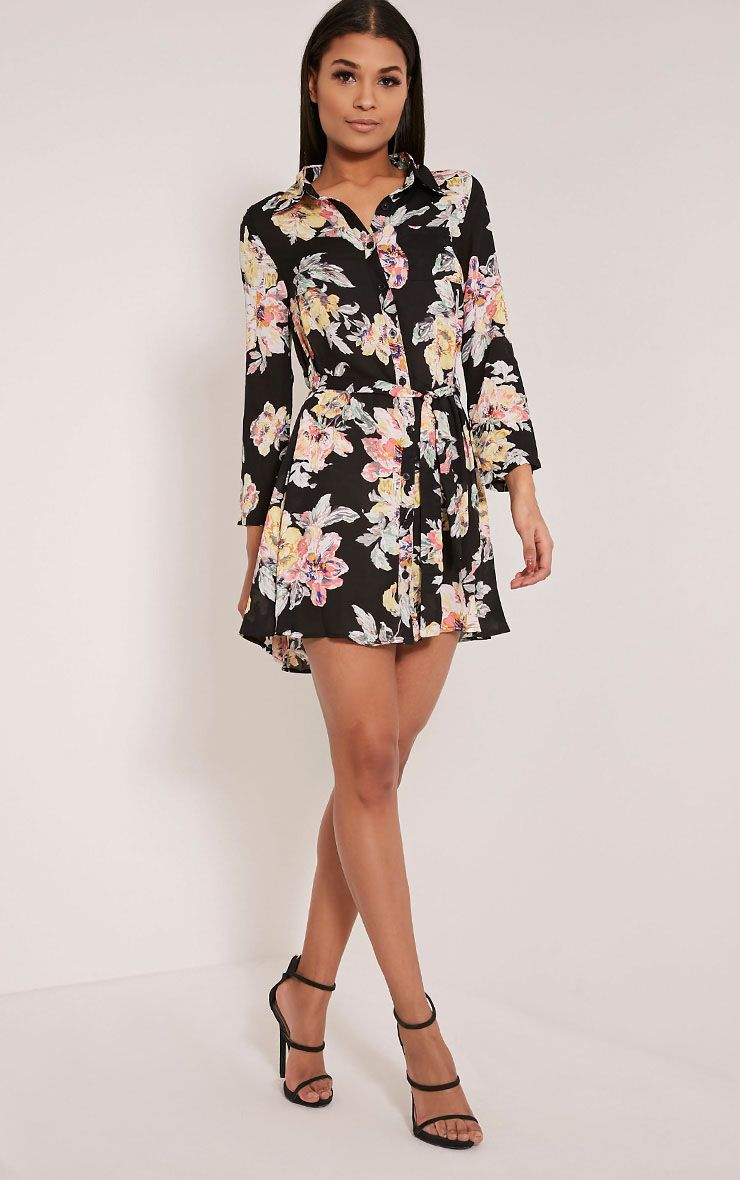Halina Black Floral Shirt Dress