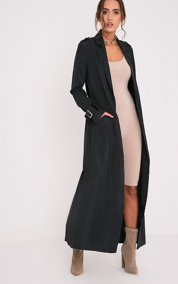 Hebe Black Lightweight Duster Mac