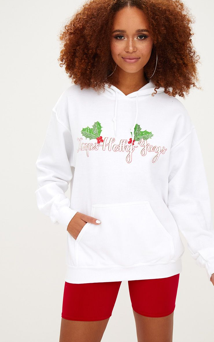 White Happy Holly Yays Christmas Slogan Hoodie