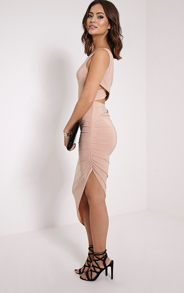 Carmen Taupe Cross Back Ruched Midi Dress 1