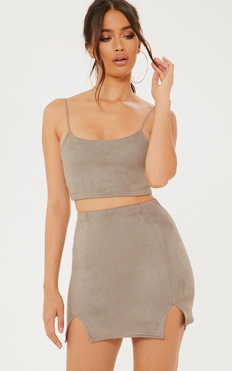 Grey Faux Suede Side Split Mini Skirt