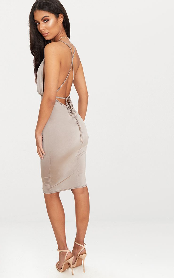 Stone Double Layer Slinky One Shoulder Ruched Detail Midi Dress Pretty Little Thing 0NmHooYpvd