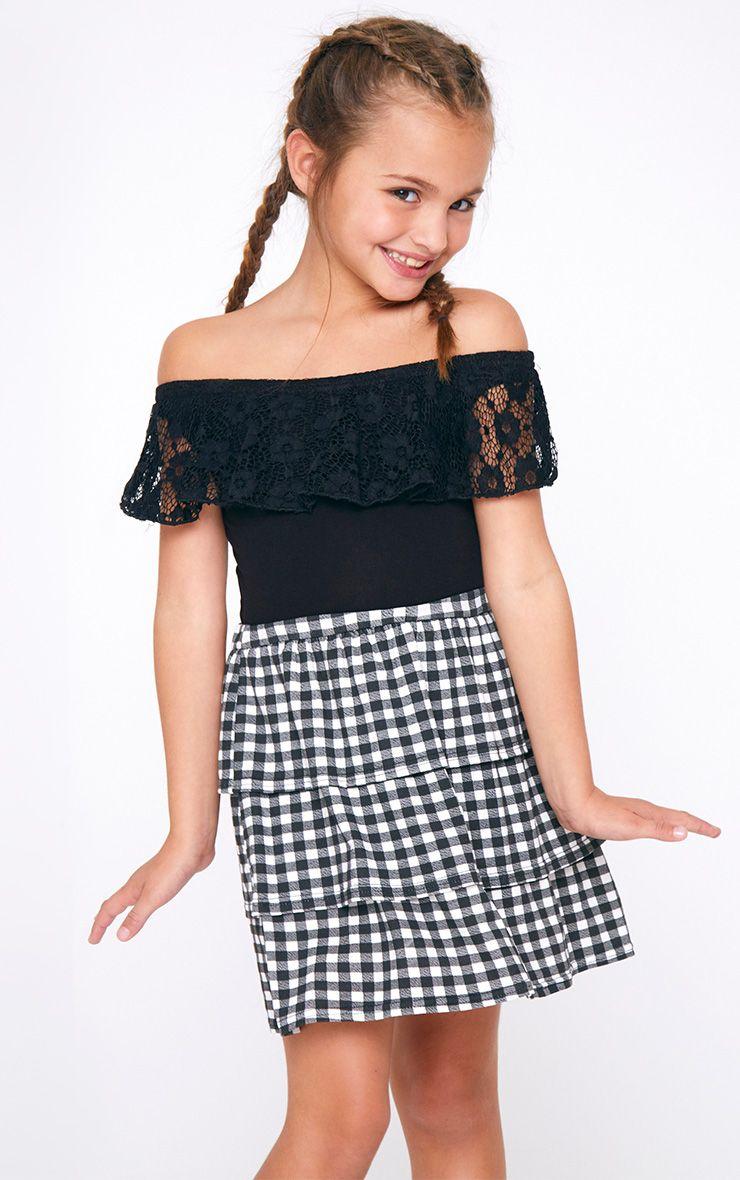 Lace Frill Bardot Black Bodysuit