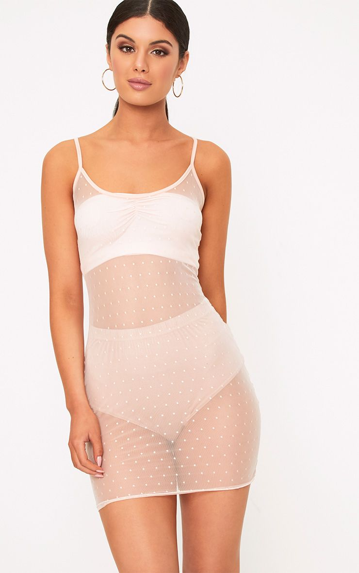 Clara Nude Sheer Dobby Mesh Strappy Bodycon Dress