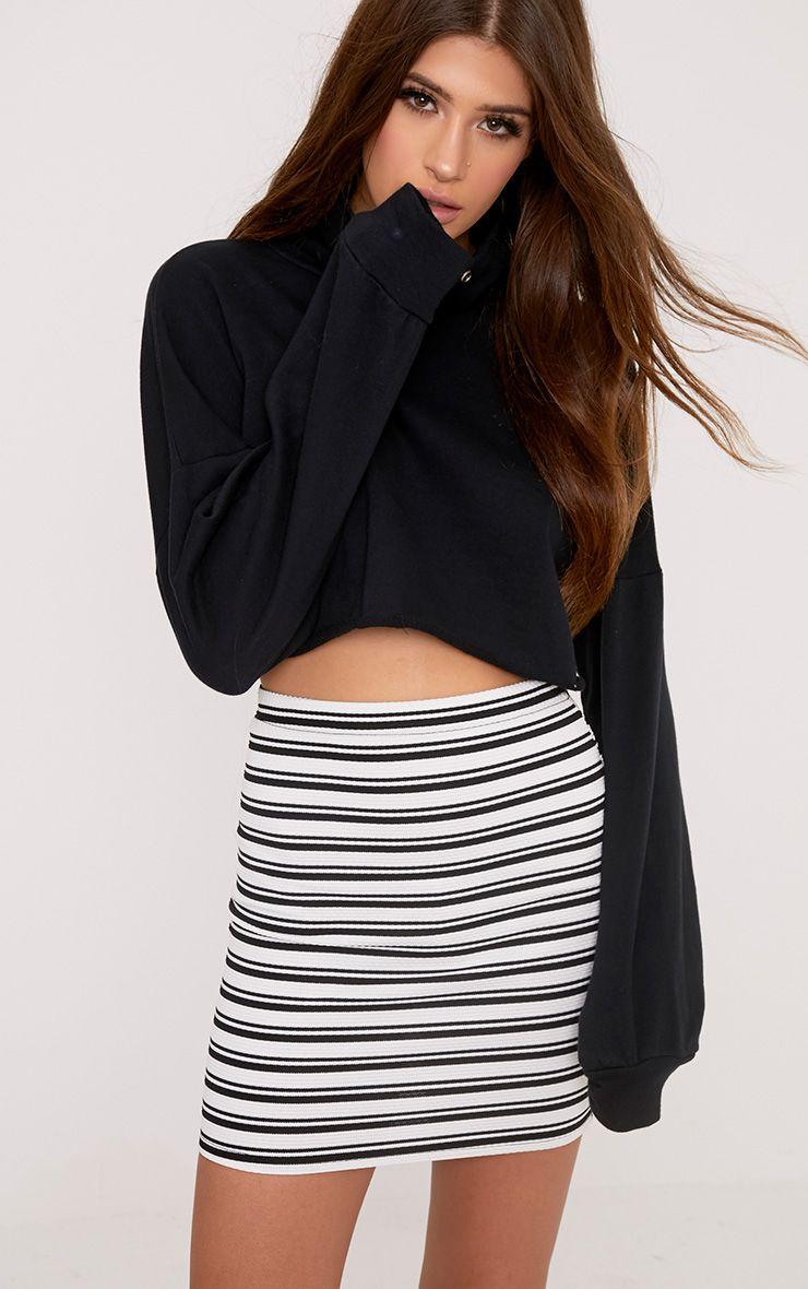 Brunela Monochrome Stripe Textured Mini Skirt