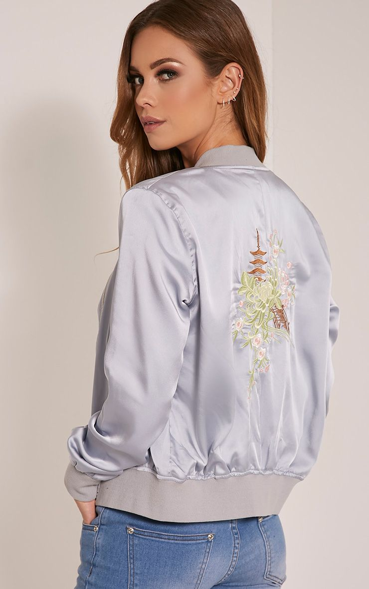 Mura Grey Satin Embroidered Bomber Jacket 1