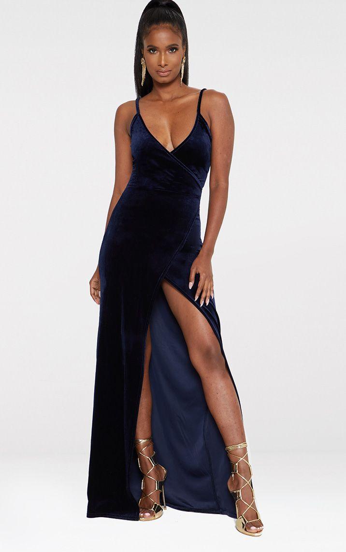 Blue Strappy Wrap Detail Maxi Dress