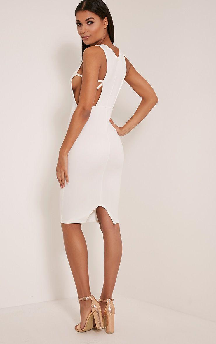 Rima Cream Strappy Cut Out Midi Dress 1