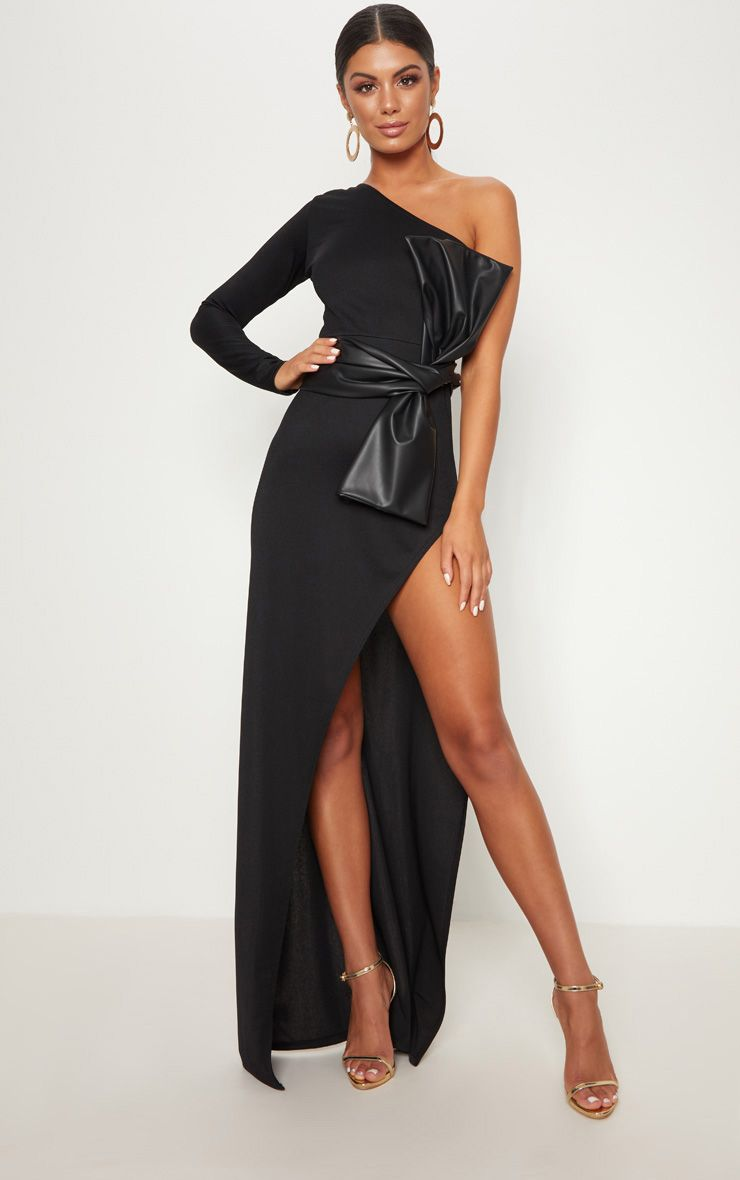 Black One Shoulder PU Belt Maxi Dress