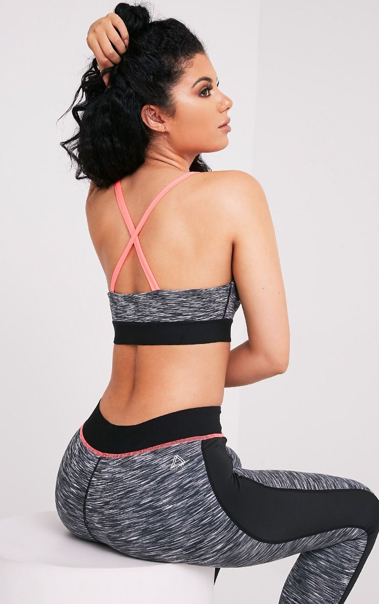 Darcie Neon Pink Cross Back Marl Sports Bra