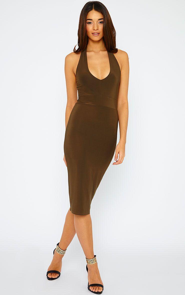 Lilly Khaki Slinky Halterneck Midi Dress 1