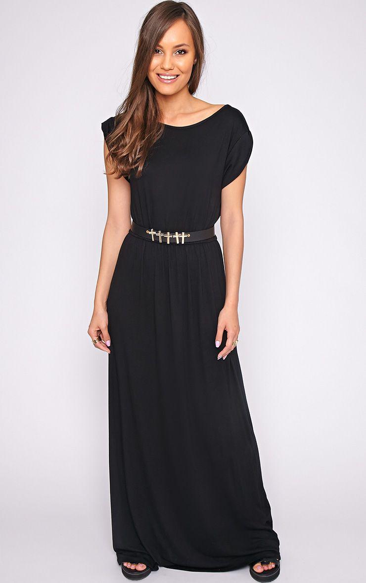 Liberty Black Tshirt Maxi Dress 1