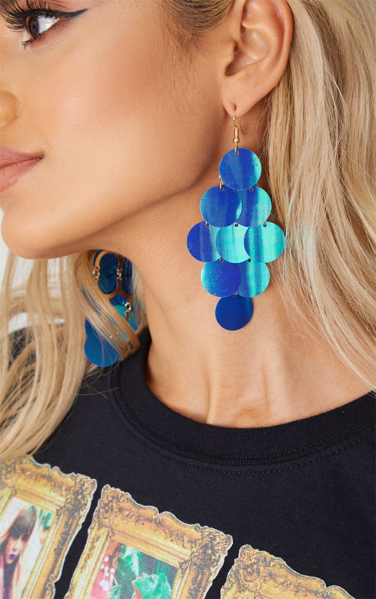 Blue Sequin Drop Earrings